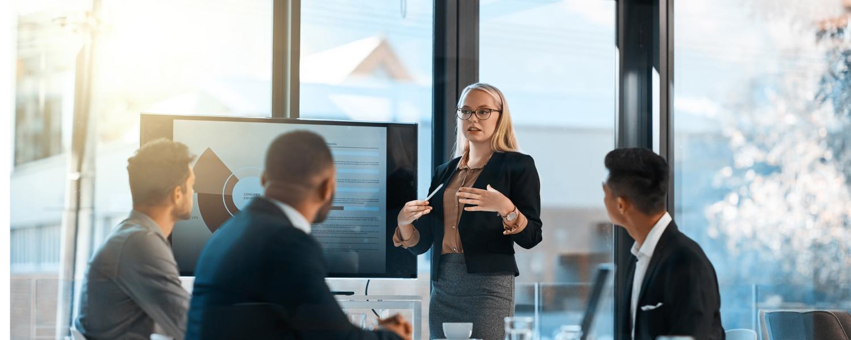 woman leading financial presentation