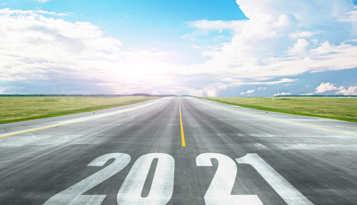 Highway to the horizon with 2021 painted on it