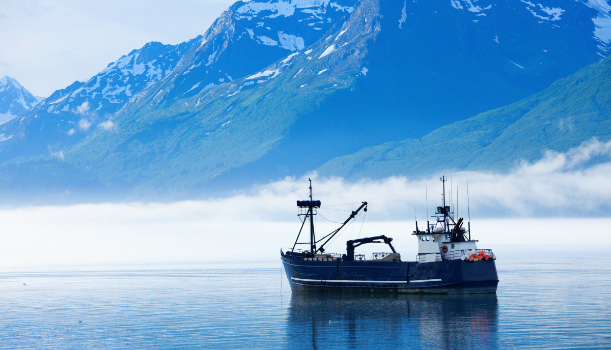 Fishing boat in water with snow-capped mountain and fog in background